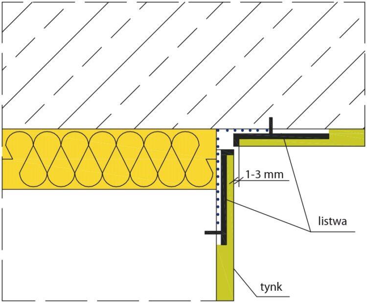 Rys. 2. Szczegół wykonania szczeliny podstropowej (krawędź swobodna)