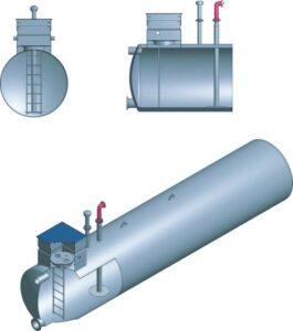 Podziemny zbiornik przeciwpożarowy Dehoust 20 m³, Ø 2,0 m